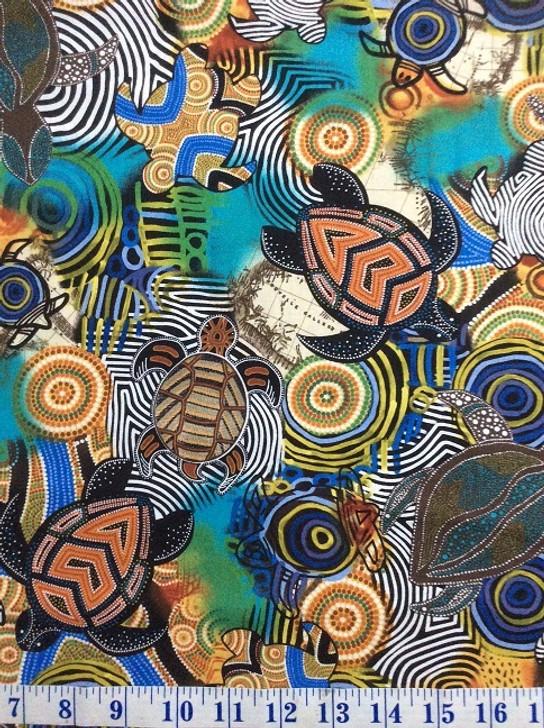 Sea Turtles Tossed Multi 112-28511 Cotton Quilting Fabric