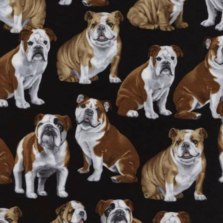 Bulldogs Dogs Black Background Cotton Quilting Fabric 1/2 YARD
