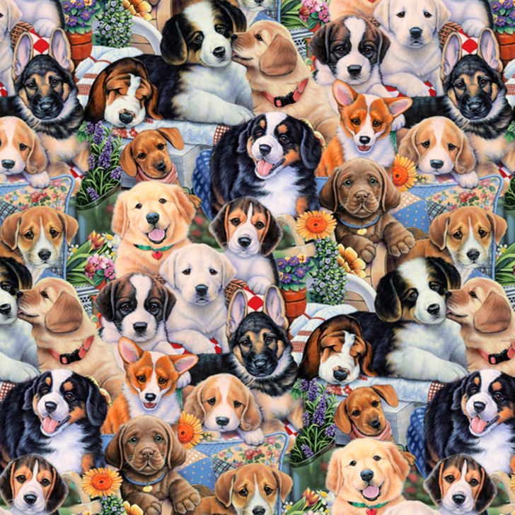 Animal Tradition Garden Puppies Cotton Quilting Fabric