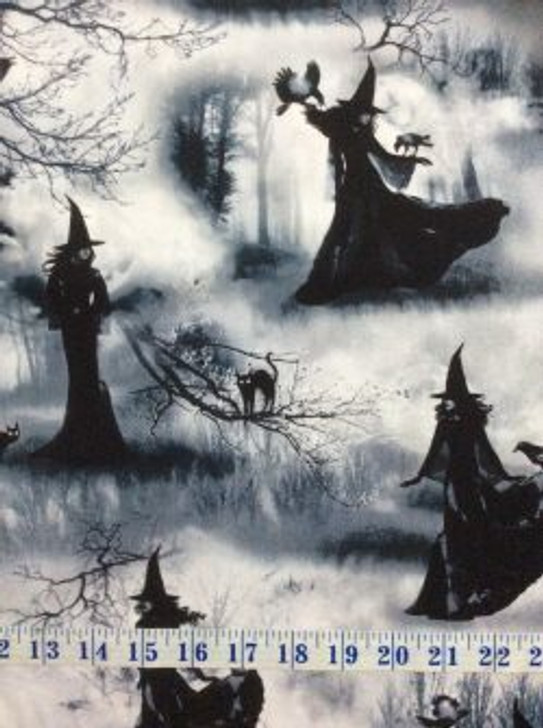 Halloween Wicked Fog Witch Grey Cotton Quilting Fabric