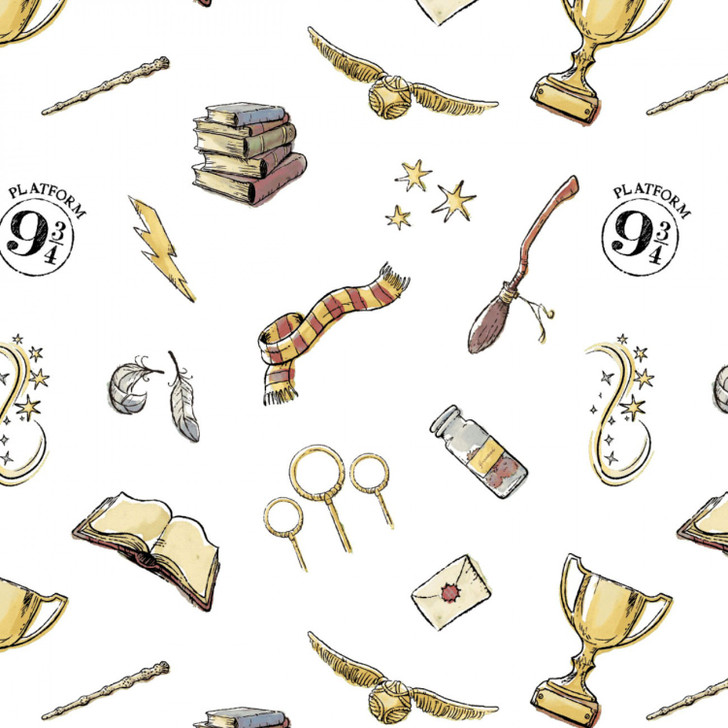 Harry Potter Icons White Background Cotton Quilting Fabric