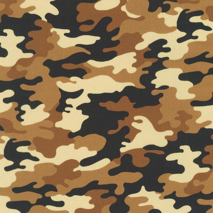Camouflage Khaki Camo Cotton Quilting Fabric