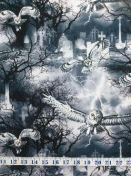 Halloween Wicked Fog Night Fog Owls Cotton Quilting Fabric
