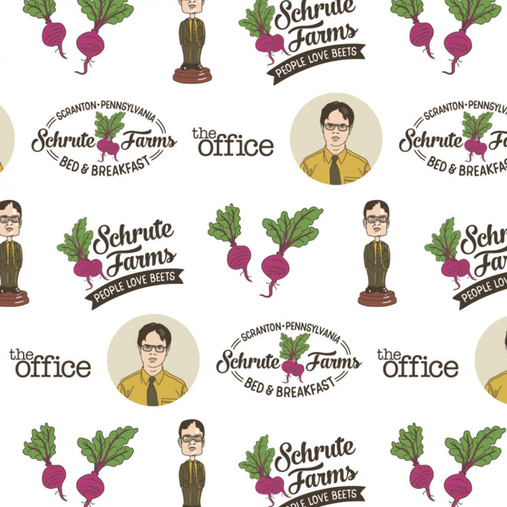 The Office Schrute Business White Background Cotton Quilting Fabric