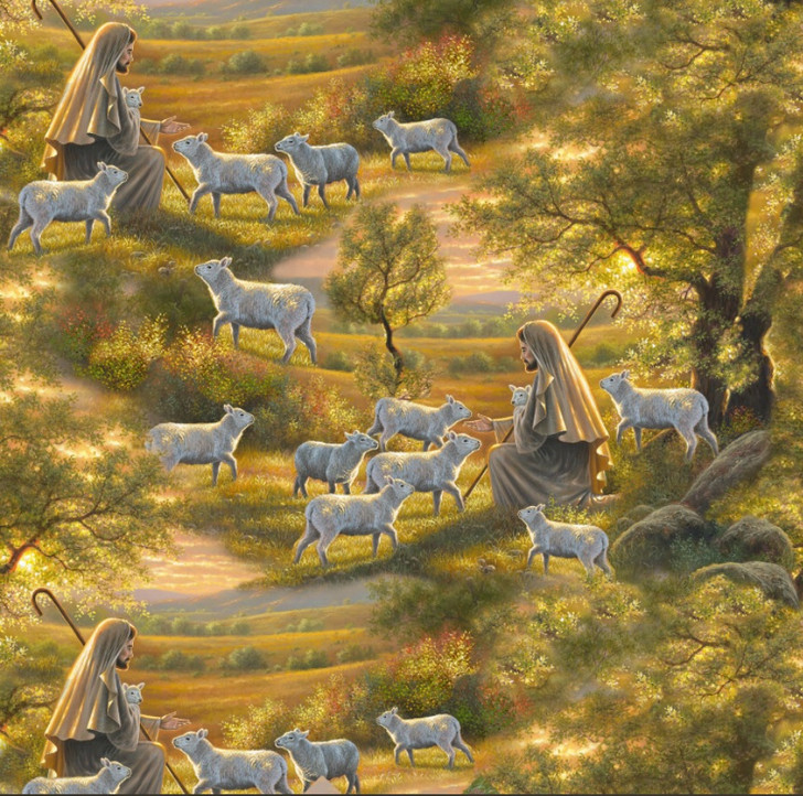 Come Unto Me Shepherd Jesus with Sheep Cotton Quilting Fabric
