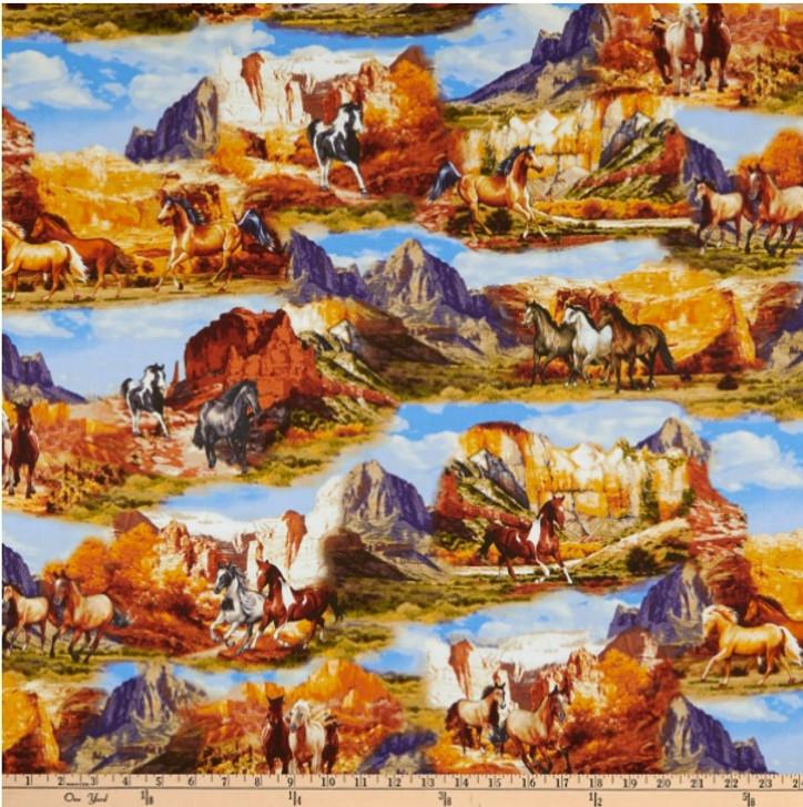 Wild Wild West Wild Horses Collage Multi Cotton Quilting Fabric