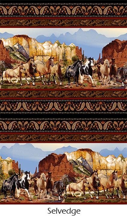 Wild Wild West Wild Horses Scenic Double Border Stripe Black Cotton Quilting Fabric