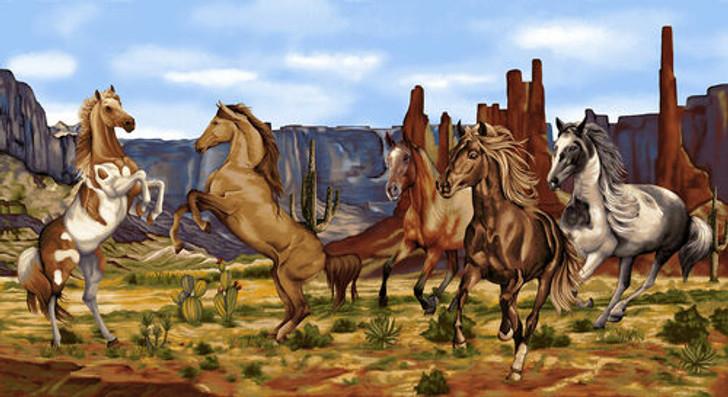 Wild Wild West Wild Horses Sienna Cotton Quilting Fabric Panel