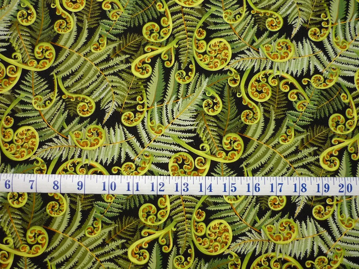 Kiwi Maori New Zealand Koru Frond Green Cotton Quilting Fabric 1/2 YARD