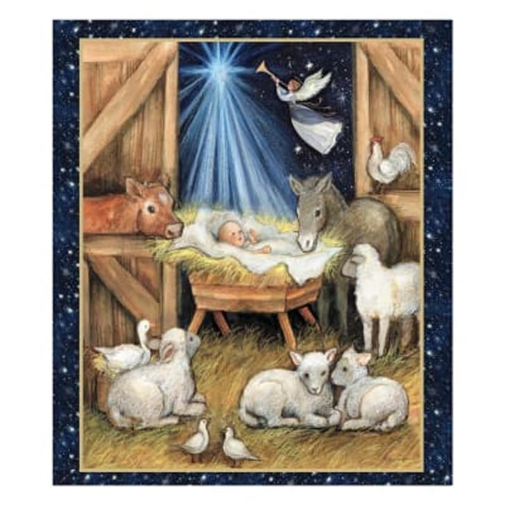 Christmas Nativity Barn Cotton Quilting Fabric Panel