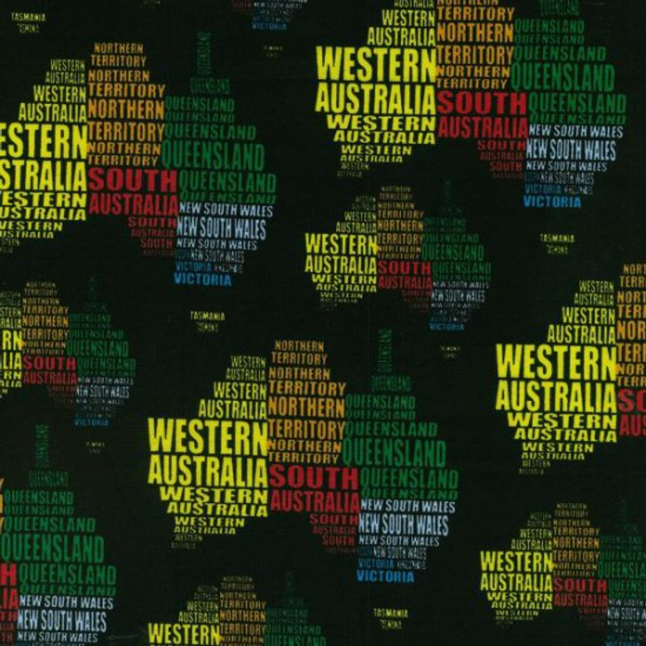 Australian States Written on Map Cotton Quilting Fabric 1/2 YARD