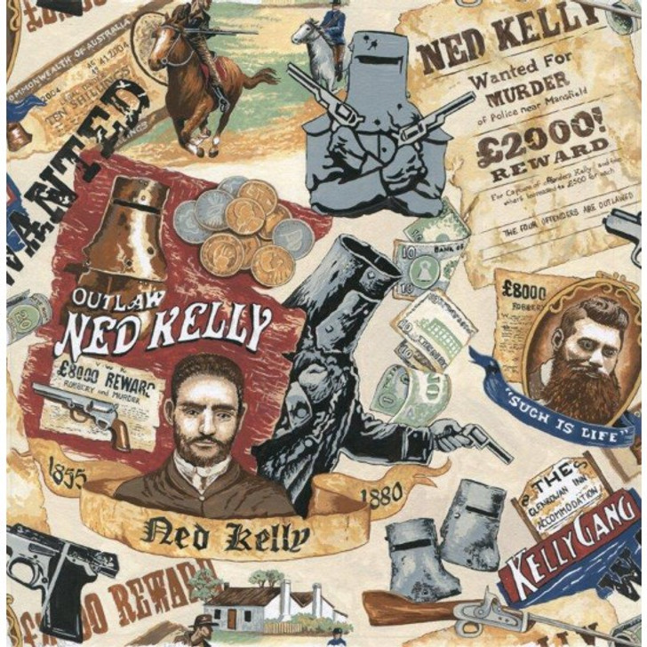 Ned Kelly Australian Bushranger Outlaw Posters Cotton Quilting Fabric 1/2 YARD