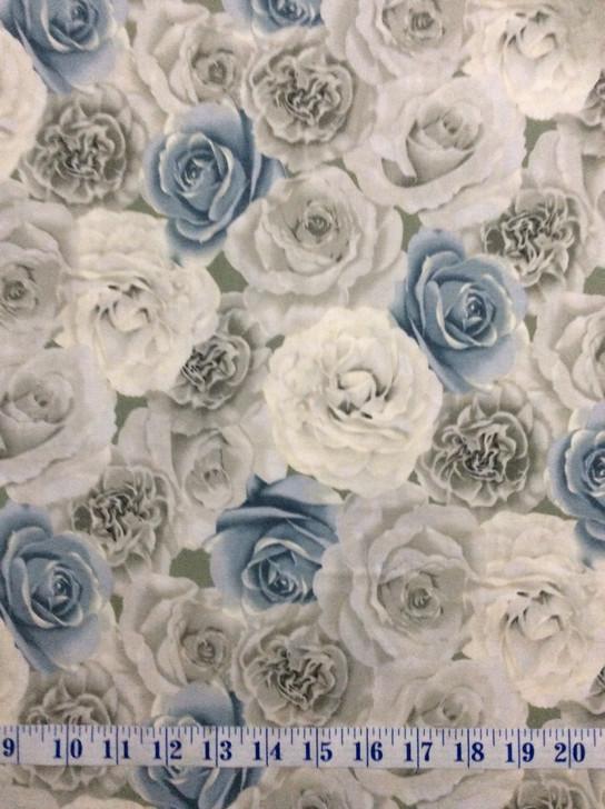 Ruru Bouquet Suzonne Floral Roses Blue Cotton Quilting Fabric 1/2 YARD