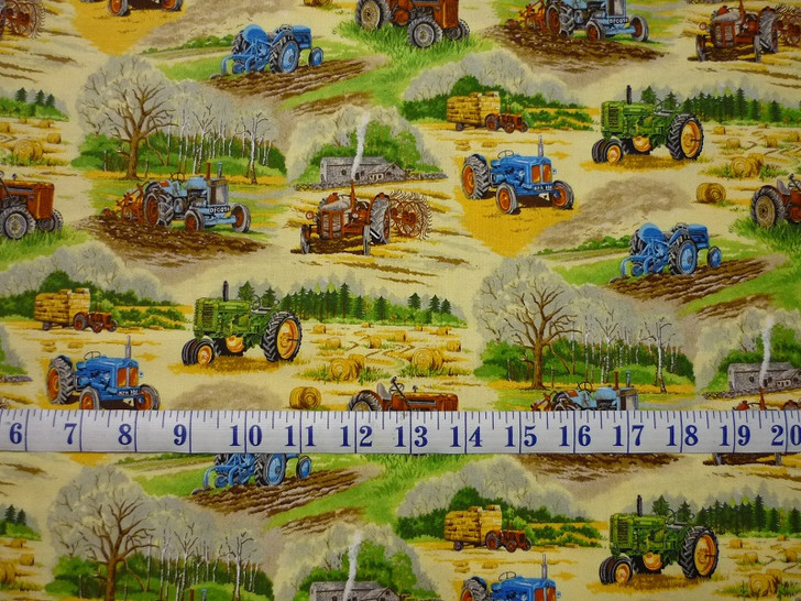 Old Farm Tractors Hay Bales Trees Country Scenes Cotton Quilting Fabric 1/2 YARD