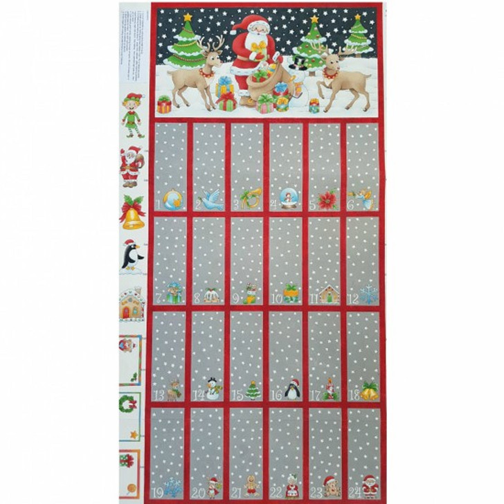 Father Christmas Santa Trees Reindeer Advent Calendar Cotton Quilting Fabric Panel