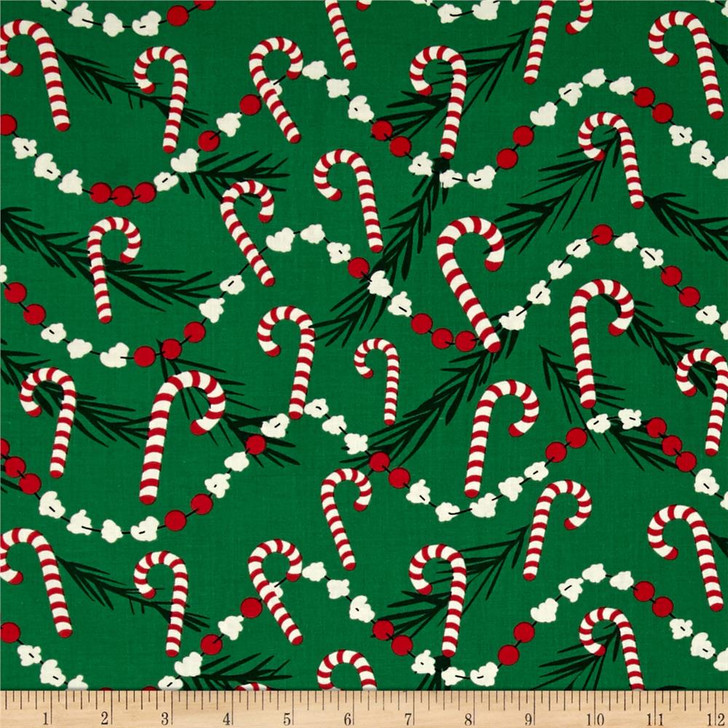 Christmas Candy Cane Corny Green Background Cotton Quilting Fabric 1/2 YARD