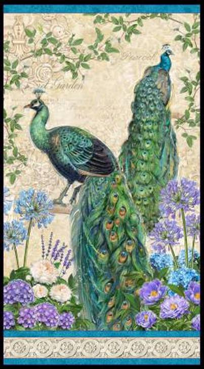 Peacock Plumage Multi Cotton Quilting Fabric Panel