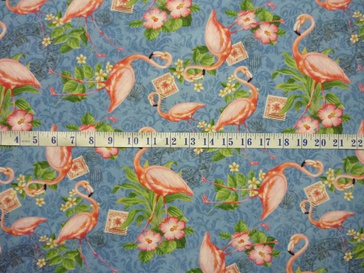 Neptune's Garden Flamingo Cotton Quilting Fabric 1/2 YARD