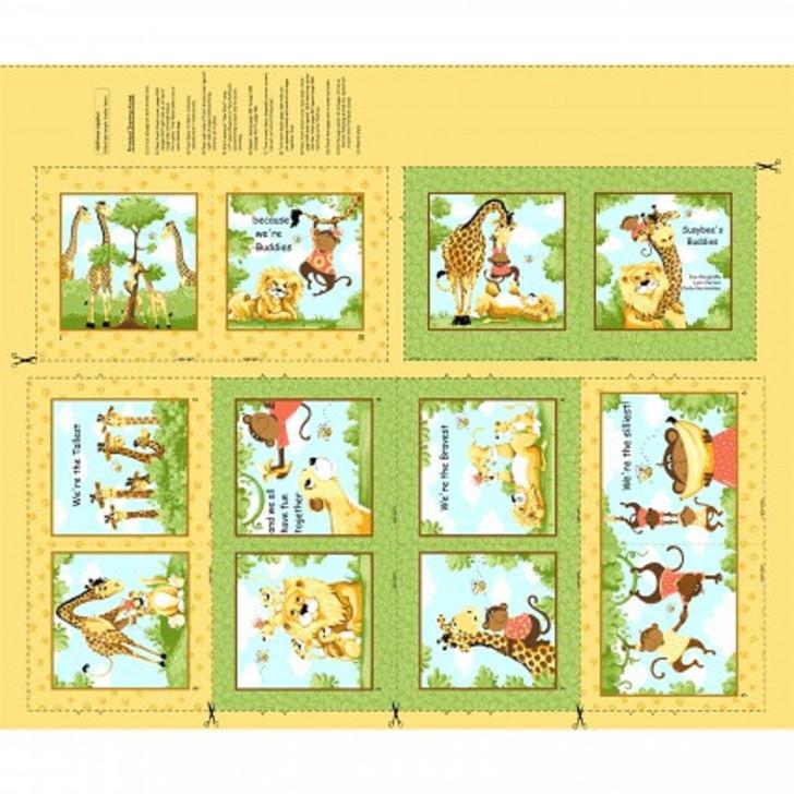 Susybee Buddies Giraffe Monkey Lion Bee Cotton Quilting Fabric Book Panel