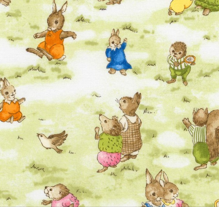 Bunnies Story Book Vintage Rabbits Allover Robert Kaufman Cotton Quilting Fabric 1/2 YARD