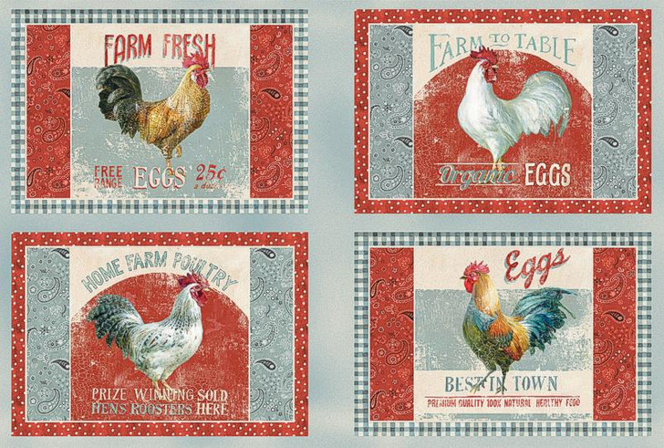 Early to Rise Roosters Farm Fresh Placemat Cotton Quilting Fabric Panel
