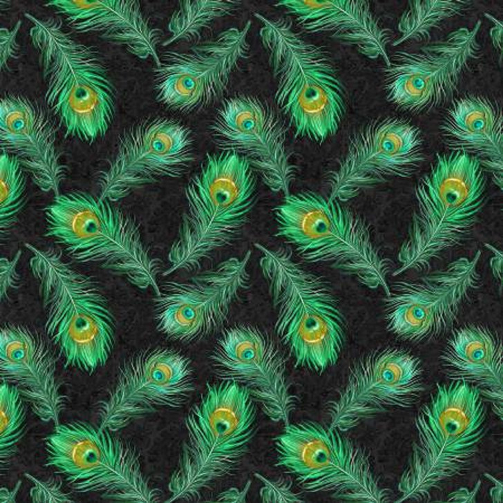 Peacock Feathers Green Plumage Cotton Quilting Fabric 1/2 YARD