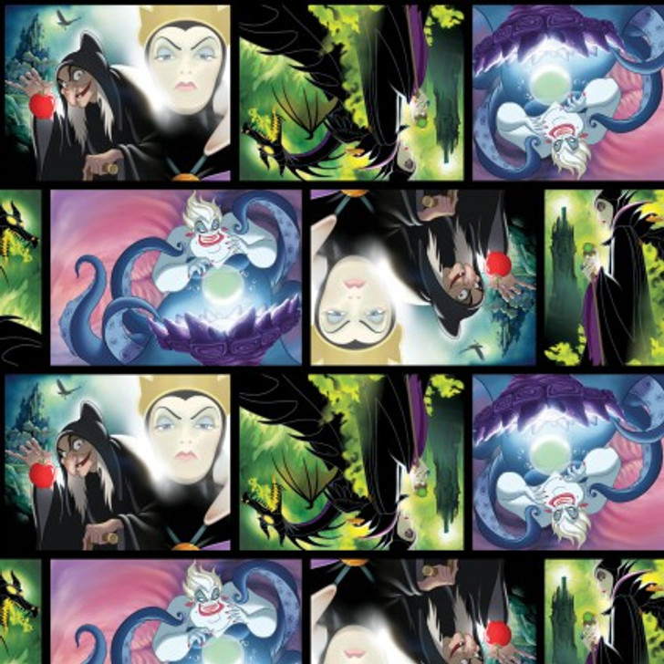 Disney Villains Patch Movie Art Multi Cotton Quilting Fabric 1/2 YARD