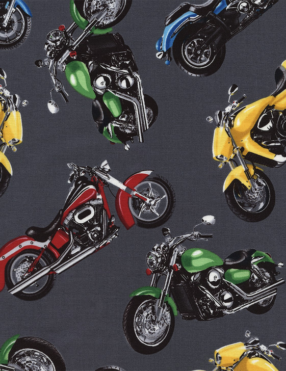 Motorbike-Motorcycle Steel-Cotton Quilting Fabric 1/2 YARD