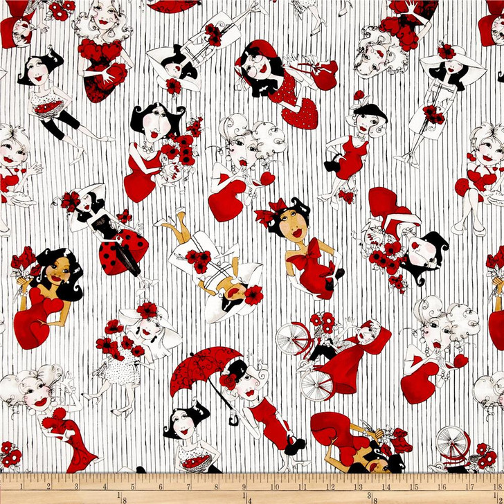Loralie Lady In Red Tossed Ladies White Cotton Quilting Fabric 1/2 YARD