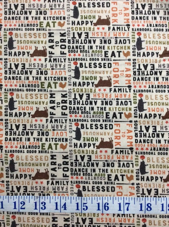 Farmhouse Life Words Cows Pigs Chickens Collage Multi Cotton Quilting Fabric 1/2 YARD