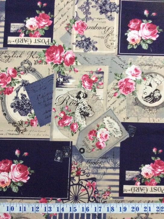 Ruru Bouquet Suzonne Floral Rose Bouquet and Script Grey Cotton Quilting Fabric 1/2 YARD