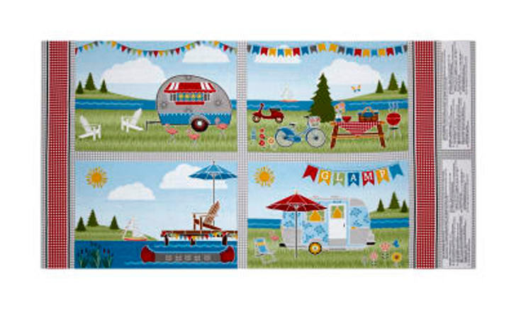 Lets Go Glamping Caravans Happy Camping Cotton Quilting Fabric Place Mats Panel