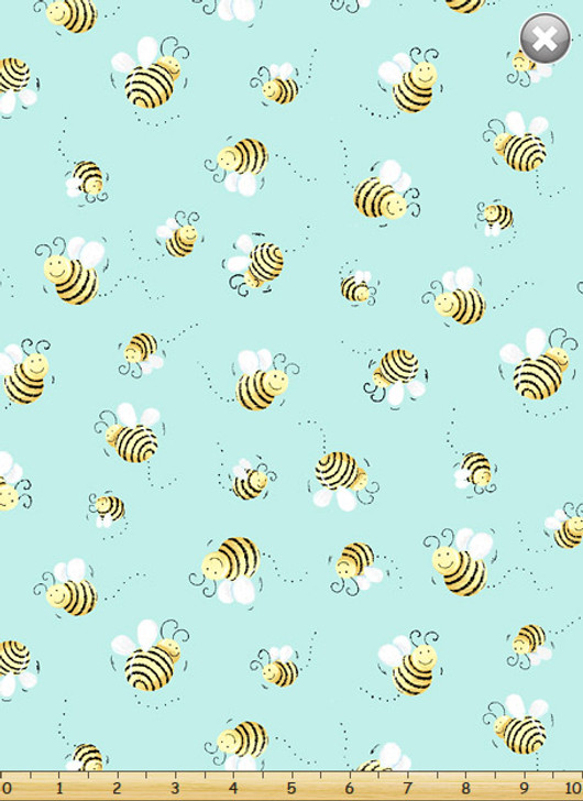Susybee Bees Aqua Background Cotton Quilting Fabric 1/2 YARD