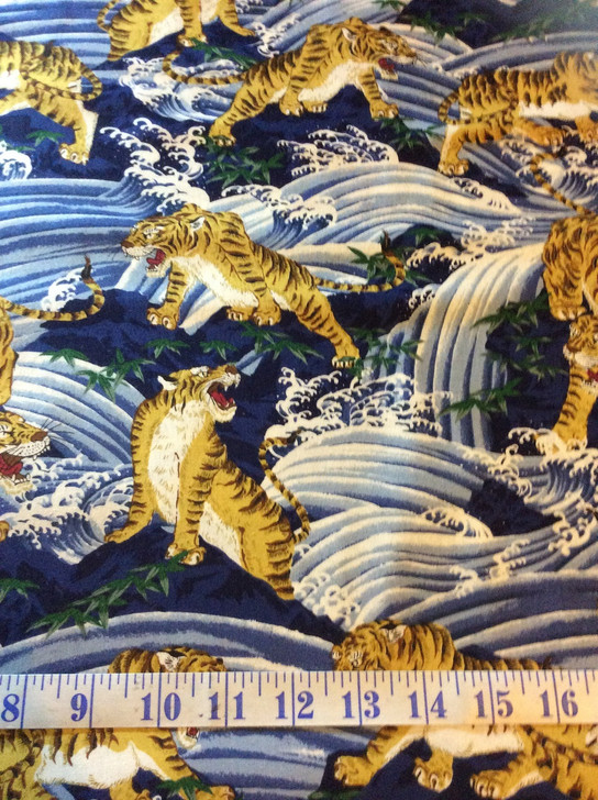Tiger in the Surf Homachi Navy Cotton Quilting Fabric 1/2 YARD