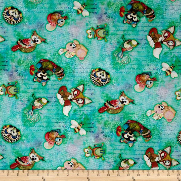 Digital Prints Skylines Tossed Animals Aqua Cotton Quilting Fabric 1/2 YARD