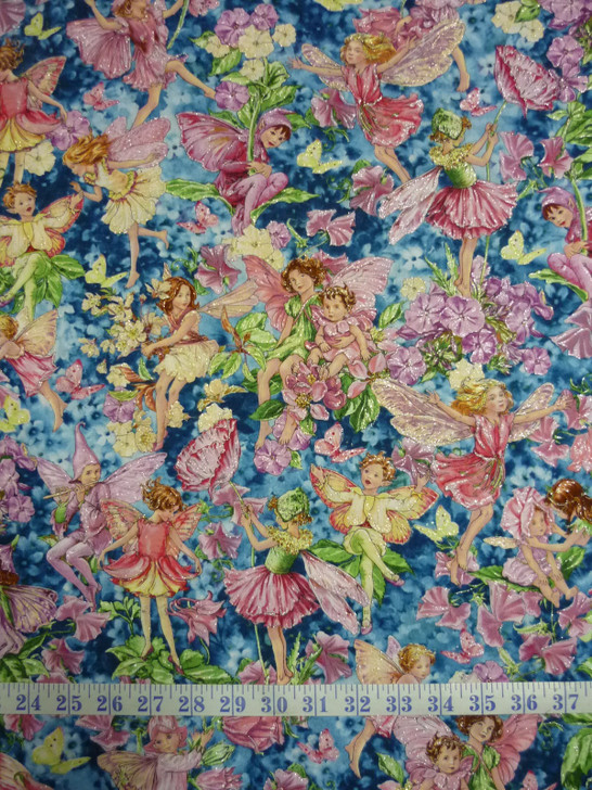 Fairy Whispers Cicely Mary Barker Silver Metallic Highlights Cotton Quilting Fabric