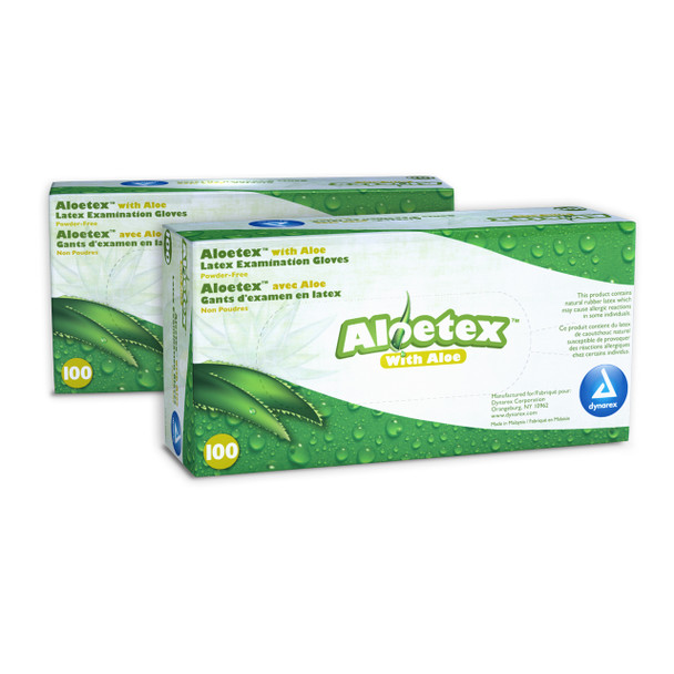 AloeTex Latex Gloves (Small) Case of 10 Boxes (6717)