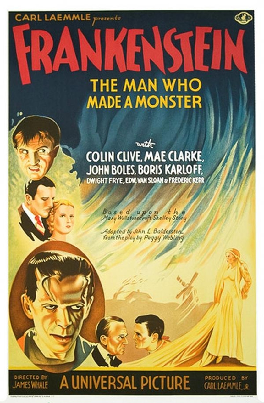 Frankenstein 1931 Movie Poster Style A Lithograph - DaVinci Emporium