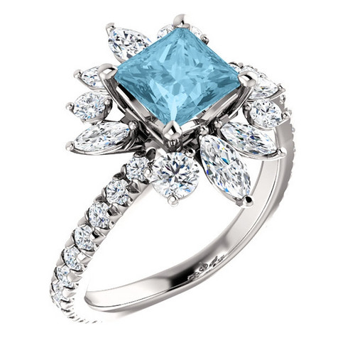Platinum Aquamarine and 1.16 CTW Diamond Ring