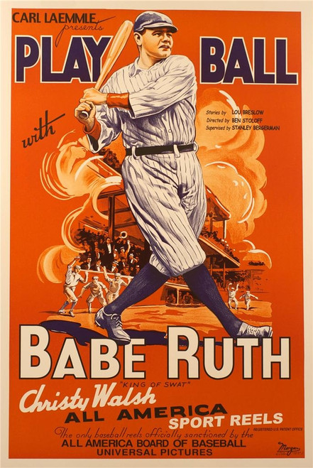 Play Ball With Babe Ruth Fine Art Poster Lithograph