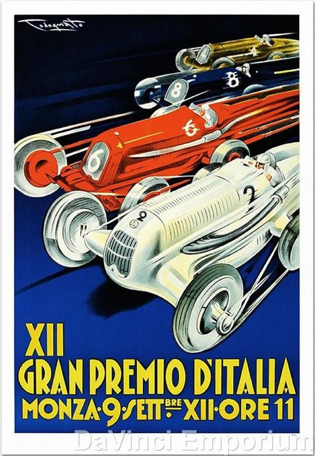 XII Gran Premio D'Italia Car Racing Poster Fine Art Lithograph