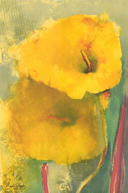 Yellow Lily Lithograph by Vicky Montesinos