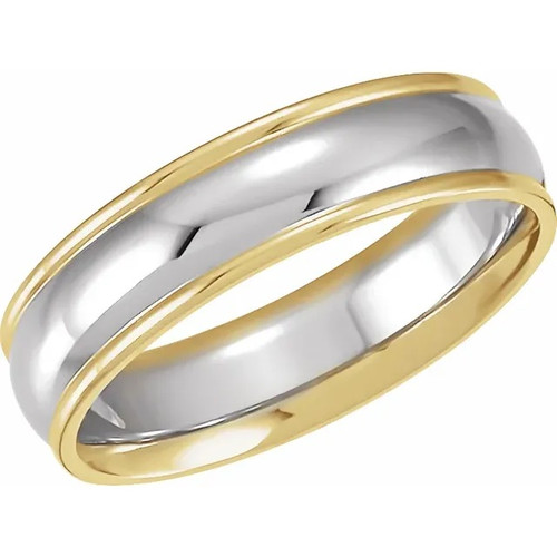 18k Yellow Gold and Platinum Grooved Wedding Band