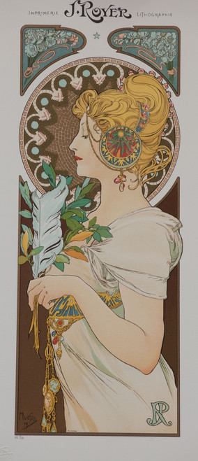 Alphonse Mucha J. Royer Feather Lithograph