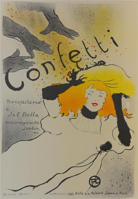 Confetti Poster Fine Art Lithograph Henri de Toulouse Lautrec