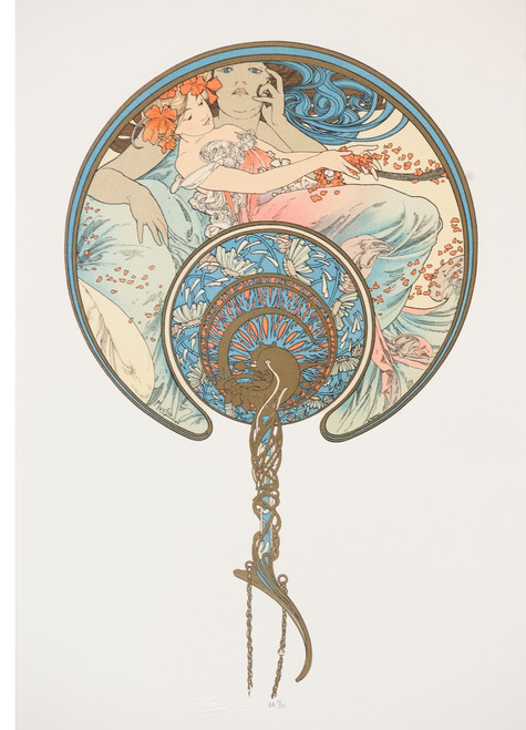 Alphonse Mucha The Passing Wind Takes Youth Away Lithograph