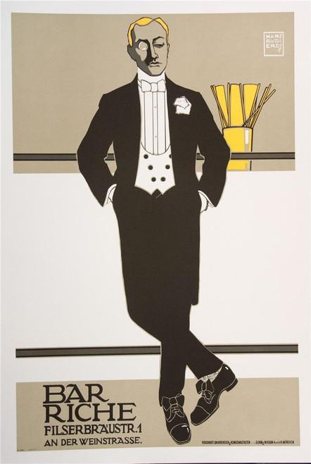 Bar Riche Poster Fine Art Lithograph Hans Rudi Erdt