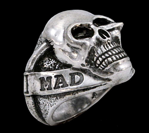 The Mad Lancer Skull Ring in Sterling Silver