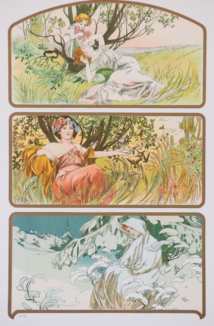Alphonse Mucha Three Seasons Lithograph