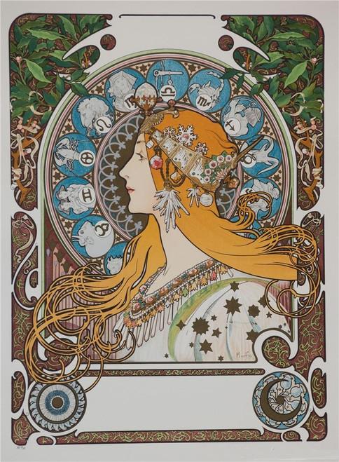 Alphonse Mucha Zodiac Blank Lithograph